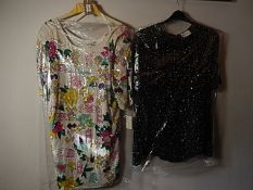 2 Vintage Beaded, Lined Frank Usher tops - White top with shoulder pads size M