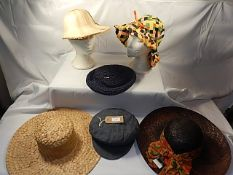 A collection of 6 Vintage hats - to include a 1970/80's hand woven hat and vintage Bhs straw hat