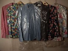 6 Shirts/blouses to include Topshop size 8 Blue denim shirt, Marks and Spencer and Principles