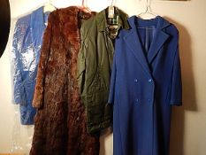 4 Coats - to include 'Country' style jacket and Fur Coat plus vintage St Michael