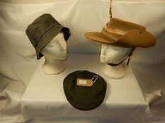 3 hats to include Barbour (size XL) and Richards & Thirkell (size L ) - Mannequin heads not included