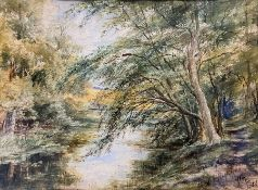 """Alice White (exh.1880-1889) watercolour """"End of the lake - Highams"""" 28 x 38 cm initialled and"""