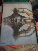 Print of Concorde in India 12 x 16 1/2 ( frame broken )