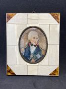 Watercolour portrait of Lord Nelson in small oval bone and tortoise shell frame 7cm x 9cm opening,