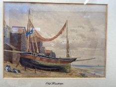 """watercolour seascape """"old Hastings"""" beach scene of a fishing boat signed J. Swift bottom right, 23cm"""