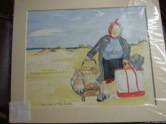 """2 Jacqueline O""""Malley watercolours Fisher Girl at Whitby 6 x 8 inches and End of Road 10 x 8 inches"""