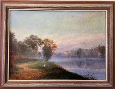 """Henri OTTMANN (1877-1927), oil on canvas """"Vue sur L'oise"""" inscribed verso 32 x 44 cm"""