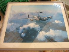 Lancaster Robert taylor signed print 18 x 13 1/2 inches and 3 other aircraft pictures