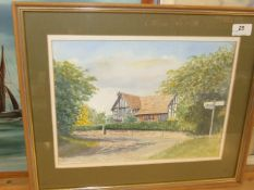 D C Macaree watercolour Hall House Higham 18 x 15 inches