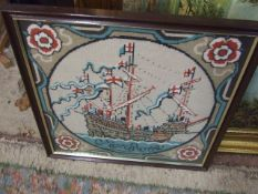 Tapestry Mary Rose Picture 39 x 39 cm and 2 others