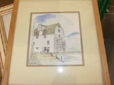 Peter Webb Watercolour Building in Harbour 7 1/2 x 8 1/2 inches