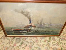 Vic Ellis ( 1921-1983 ) oil on board Tug Boat 29 1/2 x 20 inches