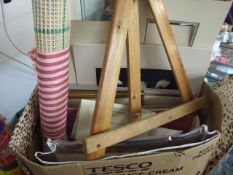 Box of Picture mounts , few water colours small pine easel etc etc