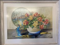 R. M. Mackay - Watercolour of roses in a vase with Japanese plague and figurine signed and dated '