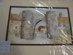 """Jacqueline O""""Malley 2 watercolours Castle Acre 9 x 5 inches and Wine and fruit 8 x 11 1/2"""
