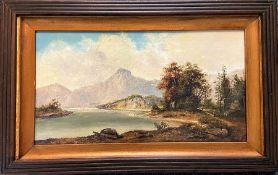 Scottish landscape - oil on board 24 x 44cm plus a box of oils and watercolours