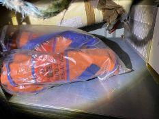 Deep sea life jacket with spray hood - gas operated inflation