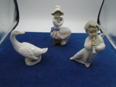 Lladro girl angel blowing trumpet, NAO seated girl cuddling puppy, NAO daisa goose all great