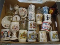 Box of Mugs, glasses, china pieces all relating to the royal family.