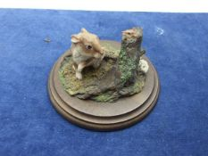 Rabbit and Mouse Figurine 4 inches tall 6 wide