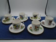 Royal Worcester 'best loved birds' coffee set. 6 pieces- The Robin, The Kingfisher, The Blue tit,