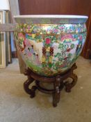 Large Chinese Jardiniere / plant pot/ koi gold fish bowl with wooden stand