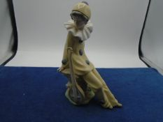 NAO by Lladro Daisa1987 seated clown with guitar.