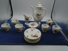 Royal Douton tea set printed with birds and flowers, teapot has chip on the lids rim inside, 6 x