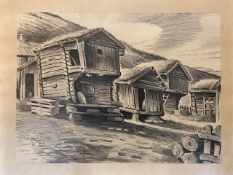 A pencil sketch of mountain log cabins inscribed bottom left and dated '67 52 x 42 cm framed