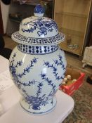 Large Blue White Lidded Pot 24 inches tall