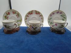 Robin Hin 'hummingbirds of the world' tea cup, saucer and stand collection, 12 in total, all in