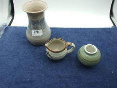 Guernsey Pottery Vase and 2 other pieces