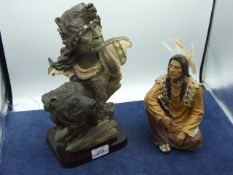 2 Resin Indian Figures largest 13 inches tall