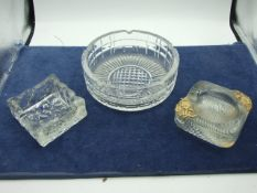 Large Lead Crystal Cut Glass Ashtray 7 inches wide and 2 others