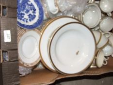 A box of assorted china to include M&S; BHS; Burleigh zenith and Maddock