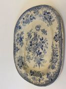 A large blue and white serving platter 30cm x 38.5cm