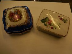 A Limoges Lidded square pot with Lady and Gentleman picture and a rectangle lidded pot (no makers