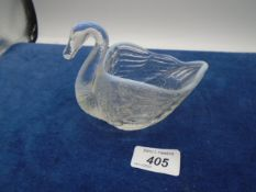Opalescent swan, possibly by Burtles, Tate & Co?, approx 10.5cm high x 13cm Long