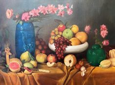 Large oil on canvas of a still life of fruits and flowers. indistinctly signed bottom right,