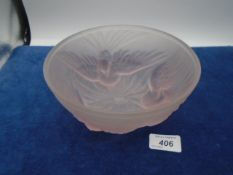 1930's art deco Jobling pink blush glass bowl with three birds in flight and central flower,