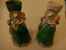 2 Hand painted Myott & Son 1930's Pierrot and Columbine figural vases (22cm High) approx. one has