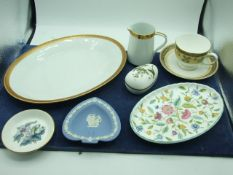 Noritake Milton Jug and Oval plate , Jasperware Ashtray , Royal Worcester Pin Dish , wedgwood cup
