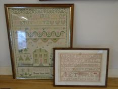 2 framed stitch work pictures, Susan Jane 1988, smaller one has broken glass, its stitched 1886