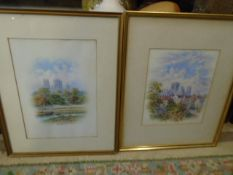 2 geo fall signed Watercolours 21x28 (without mount and frame) of Gray's court, Geo fall, York