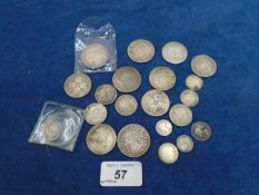 Victorian coins incl 2/6 (x4) 1887, 1889 and 2 others, 6x florins, 4x 1/-, 4 x6d and 2 x 3d