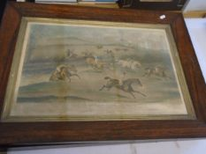3 vintage prints of Aylesbury Steeple Chase after paintings by F C Turner, 75 x 55 cm