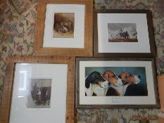 4 framed prints, 3 of horses 21x16 (print only not including mount or frame) and 1 of foxhounds