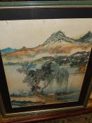 Oriental Picture on cloth 13 1/2 x 17 1/2 inches