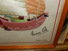 Marco Polo Hong Kong Material Boat Picture 12 x 16 inches