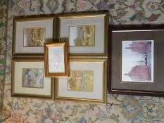 Helen Allingham 4 framed cottage prints 15x11 cm (print only) winnie the pooh 16x11cm print of